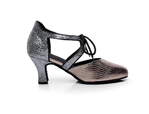 Lace Minishion Salsa QJ7047 Grey Dance Tie Women's Tango up Synthetic Latin Pumps 00Tnwr