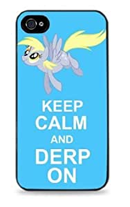 Keep Calm and Derp On My Little Pony- Black Silicone Case for iPhone 4 / 4S - 447
