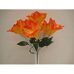 JumpingLight 6 Bushes Orange Amaryllis 6 Artificial Silk Flowers 16'' Bouquet 647OR Artificial Flowers Wedding Party Centerpieces Arrangements Bouquets Supplies 74