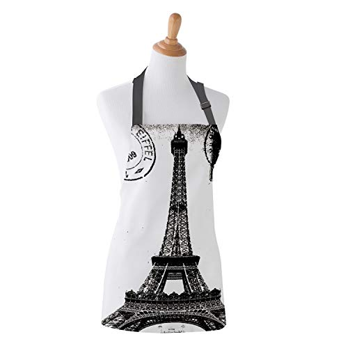 Family Decor Adjustable Bib Apron, Waterdrop Resistant Cooking Kitchen Aprons for Teens Boys Girls, Vintage Paris Eiffel Tower Stamp