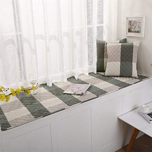 Icegrey Thick Bay Window Cushion Cover Seats Sill Pad Sofa Mat Rug Plaid Green (Window Seat Bow Cushions)