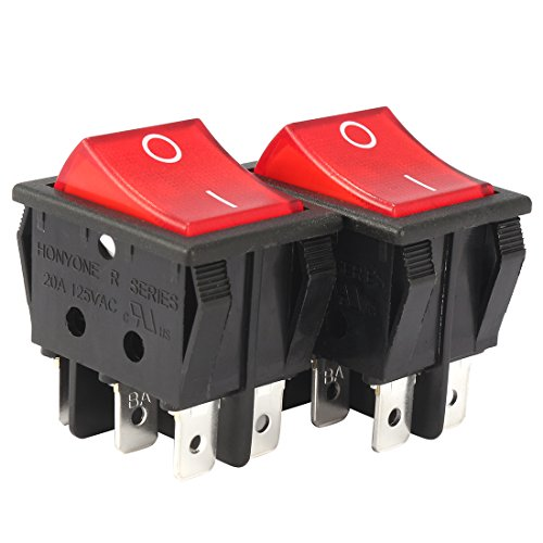 uxcell 2Pcs AC 20A/125V 22A/250V DPDT 6Pins 2 Position On/Off Red Bulb Light Illuminated Boat Rocker Switch