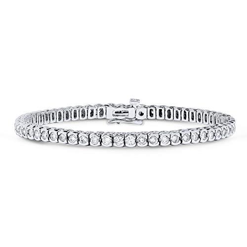 5 Carat Diamond Half Bezel Tennis Bracelet in 14k White Gold