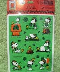 Vintage Snoopy Peanuts (Vintage Hallmark Peanuts Snoopy & Woodstock Pkg Stickers - ST. PATRICK'S DAY - 4 Sheets)