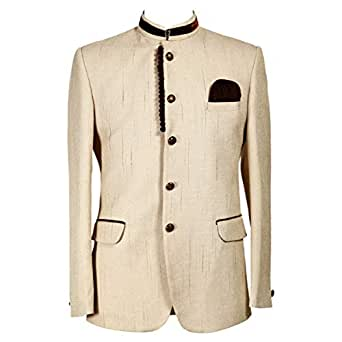 Libas Riyaz Gangji Beige Viscose Blazer For Men