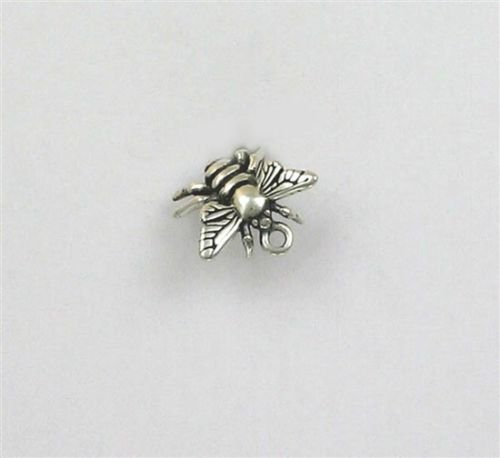 Sterling Silver 3-D Honey Bee Charm - Jewelry Accessories Key Chain Bracelet Necklace ()