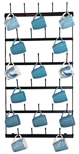 Metal Coffee Mug Rack - Large 6 Row Wall Mounted Storage Dis