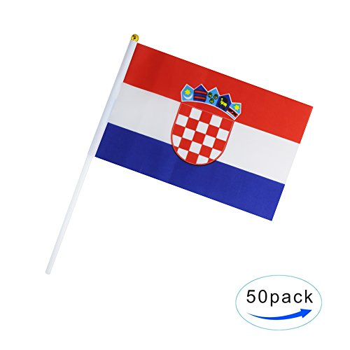 50 Pack Hand Held Small Mini Flag Croatia Flag Croatian Flag Stick Flag Round Top National Country Flags,Party Decorations Supplies For Parades,World Cup,Sports Events,International Festival Croatian Flag