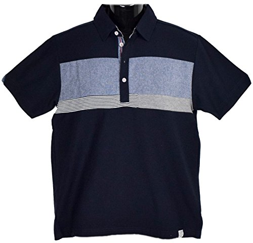 Clack (クラック) ポロシャツ 異素材 パネルボーダー 切替え 半袖 軽量 トップス ゴルフ シンプル 春 夏 秋 メンズ