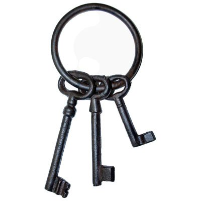 JKR-6 DECORATIVE CAST IRON JAILERS SKELETON KEY SET PERFECT FIT TO COSTUME OR WESTERN DECOR + FREE BONUS (SKELETON KEY BADGE) (Jailers Keys)
