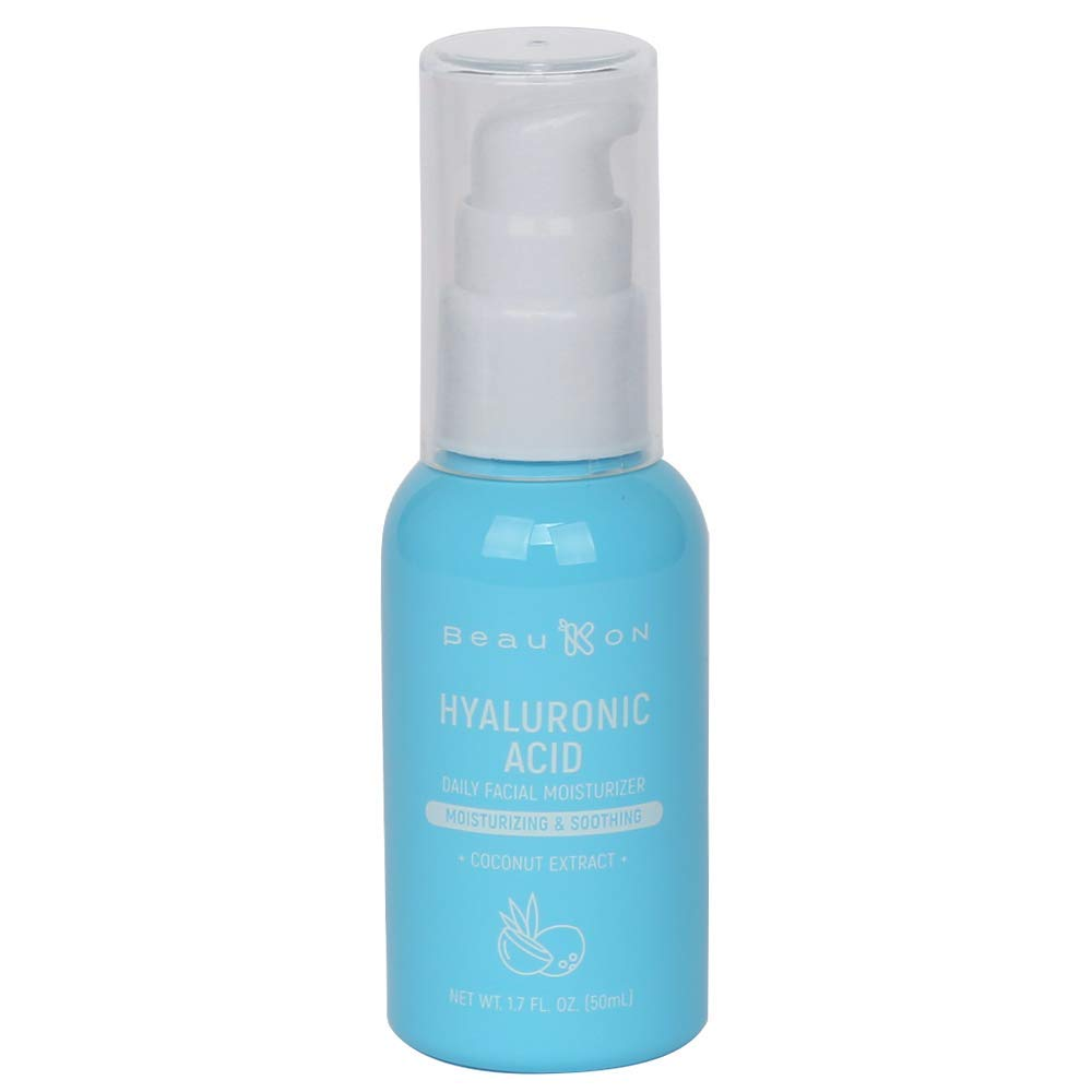 BeauKON Hyaluronic Acid with Coconut Extract, Daily Facial Moisturizer, Moisturizing and Hydrating Cream for Face, Instant Hydration for Normal to Dry Skin (1.7 fl. Oz.)