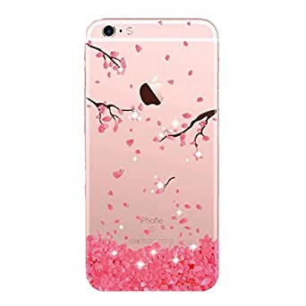 iPhone 6 / 6S Case Silicone Soft TPU Case, Anti-scratch Protector Anti-Finger Cover Shock-Absorption Bumper Flexable Bumper for iPhone 6 / 6S - Clear (Cherry 6)