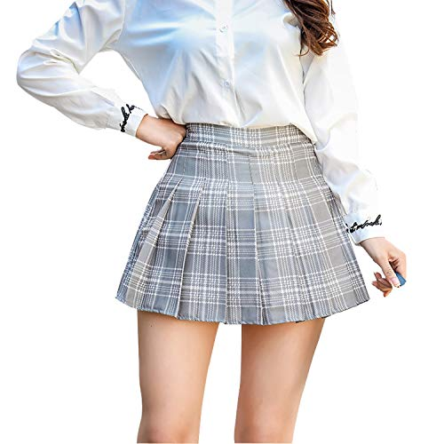 Tulucky Women Plaid Skirt High Waist Pleated School Girl Uniform Mini Skirts(GrayPlaid,XXL)