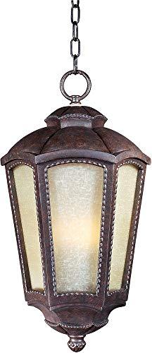 (Maxim Lighting 85497TLML One Light Mottled Leather Tawny Linen Glass Hanging Lantern, Bronze )