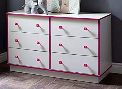 Amazon.com: Chester Drawers - White Pink Wood Chest Six ...