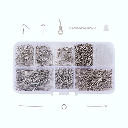 Silver iSuperb 8 Styles Earring Making Supplies Kit Earring Backings Earring Hooks for DIY Jewelry Making