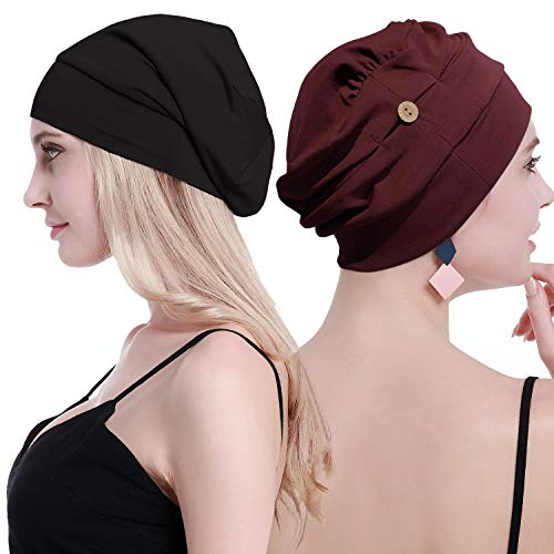 OSVYO Bamboo Chemo Turbans for Women Cancer Hairloss hat - Cotton Lightweight Headwear Sealed Packaging Wine Black (Best Wine For Weight Loss)