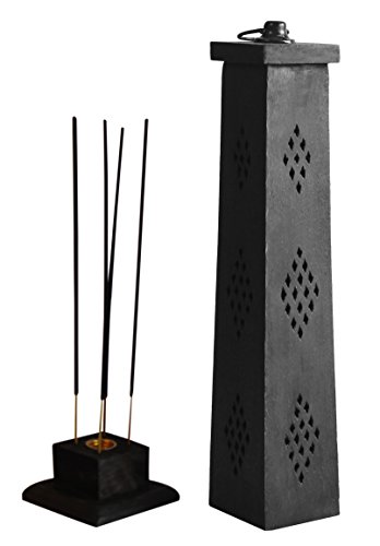 The StoreKing Wooden Incense Cone Tower Burner Stand Holder Ash Catcher Home Decor Utilities & Accessories (Black - Jali Cutout)