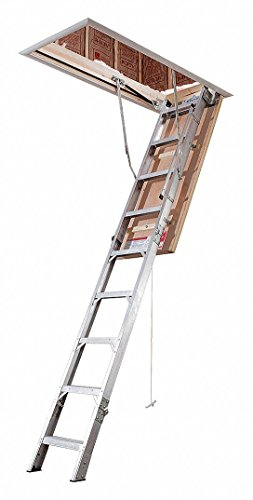 "Aluminum Attic Ladder, 7 ft. 11"" to 10 ft. 3"" Ceiling Height Range, 70"" Swing Clearance, 55.5 lb. Ne"