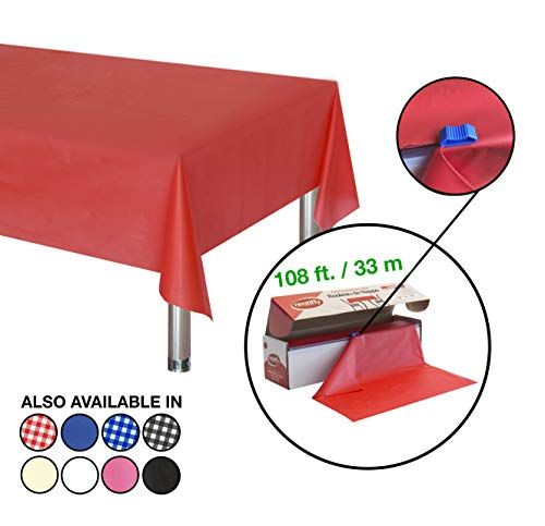Neatiffy 54 Inch x 108 Feet Thick Plastic Table Cloth Roll Party/Banquet, Durable Table Cover (Reusable/Disposable) Tablecloths for Rectangle/Round/Square Tables, 12 Picnic Pack (Red)