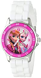 Disney Kids\' FZN3550 Frozen Anna and Elsa Watch with White Rubber Band