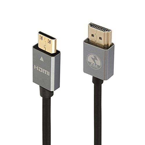 P&A Mini HDMI to HDMI Cable 6 ft - High Speed HDMI Cable v2.0/1.4a 3D 2160p PS4 SKY HD 4K Ultra HD Ethernet Audio Return - HDMI CABLE Black 2M