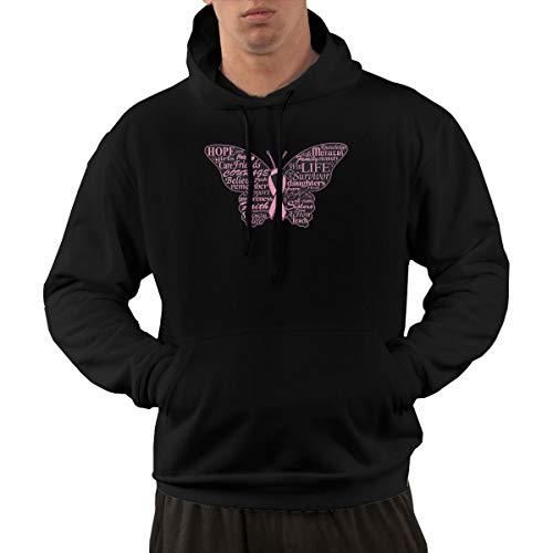Mens Pullover Hoodie, Pink Ribbon Butterfly- Breast Cancer Hooded Sweatshirt Aesthetic Hoodies for Men