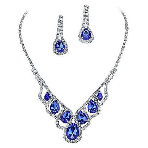 Purplebox Fashion Jewelry Royal Sapphire Blue Droplets Rhinestone Prom Necklace Set (Set Necklace Blue Royal)