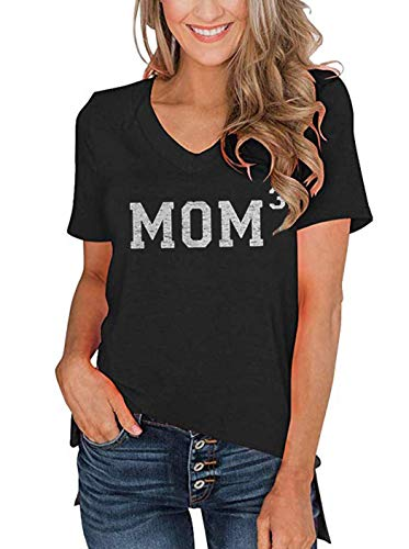 Mom 3 V-Neck Short Sleeve T-Shirt Tops Women Cute Vintage Letter Print Blouse Tee Casual Loose Mother Day Tees Tops (X-Large, Grey) ()