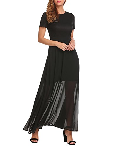 ANGVNS Women's Elegant Short Sleeves Empire Waist Bridesmaid Maxi Dress Black XL (Black In Dress Sleeve Empire Short)