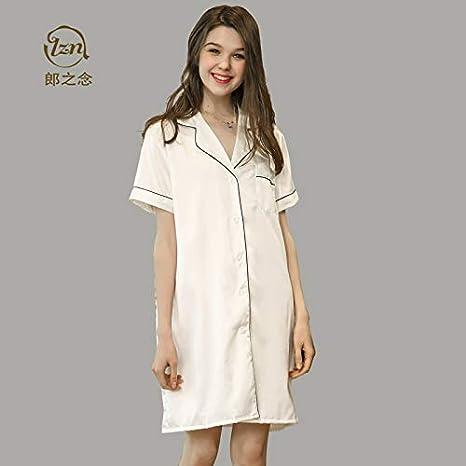 LYIKAI Pijamas de mujer Camisa De Seda De Hielo Pijama De Verano para Mujer Camisa De Seda De Spinning Falda Larga Suelta De Gran Tamaño.M: Amazon.es: Deportes y aire libre