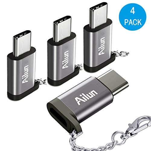 AILUN USB Type C Adapter,[4Pack], Compact with Keychain,Sync & Charge,for Samsung Galaxy s10s10 Plus S9/S9+,MacBook,ChromeBook Pixel,Nexus 5X,Nexus 6P,Nokia N1 & More Type C Cable Port Devices[Grey]