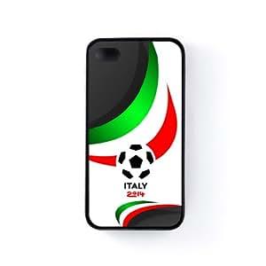 Italy Football World Soccer Team 2014 - Italian Fans Flag II Funda Protectora Snap-On en Silicona Negra para Apple® iPhone 4 / 4s de UltraFlags + Se incluye un protector de pantalla transparente GRATIS