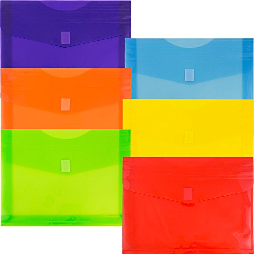 JAM Paper Plastic Envelopes with Hook and Loop Closure - 2'' Expansion - Letter Booklet - 9 3/4'' x 13'' - Assorted Colors - 6/pack by JAM Paper