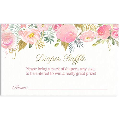 Floral Baby Shower Diaper Raffle Tickets, Baby Shower, Floral, Flowers, Watercolor, Vintage, Victorian, Diaper Party, Raffle Tickets, Girl Baby Shower, Pink, Blush, 24 Pack Printed Diaper Inserts