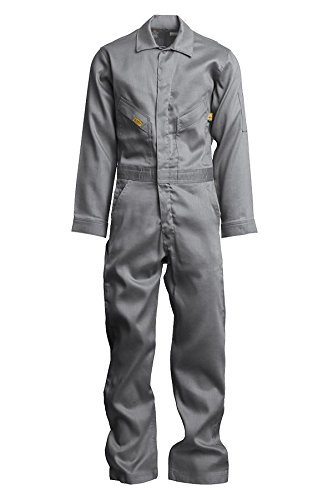Lapco FR GOCD6GY-46 REG 88/12 Cotton-Nylon Deluxe Lightweight Coverall,Cotton, 46 Regular, Gray (