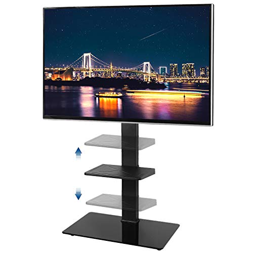 Rfiver Black Floor TV Stand with Universal Swivel Mount and Adjustable Metal Shelf for Most 32 37 42 47 50 55 60 65 inch TVs, 6 Levels Height Adjustable and - Pedestal Drawers Bed
