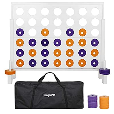 ZENY Giant 4 in A Row Jumbo Connect Four Game 4-to-ScoreOutdoor Party Family Giant Board Game Set for Kids and Adults,Coins and Carrying Bag Included,3 Foot,for Parties,BBQ,Backyard Family Fun: Toys & Games