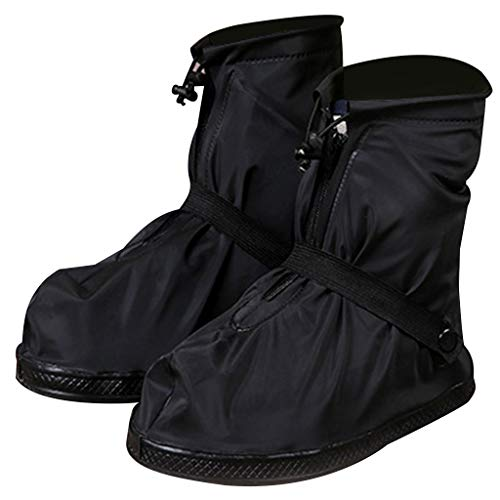 CapsA Waterproof Rain Boot Shoe Cover Overshoes Galoshes Reusable Foldable Rain Boots with Reflector Anti-Slip Rain Gear for Cycling Motorcycle Fishing Men Women Kids (Black, M)