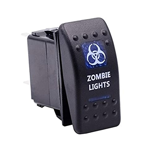 Switch, Han Shi Panel Switches by WUPP, Car Auto Truck Boat Marine 12V 24V ON OFF Rocker Switch Blue LED Light (Zombie B)