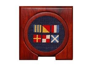 Smathers & Branson Got Rum Needlepoint Coasters, Classic Navy (Coaster-34)