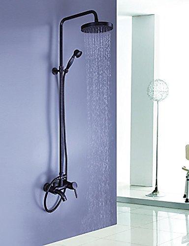 (YYF-SHOWER Shower System Shower System Water Tap Shower Fittings Antique Rain Shower Hand Shower Included - Brass (Bronze Oilseed) (Color : Black))