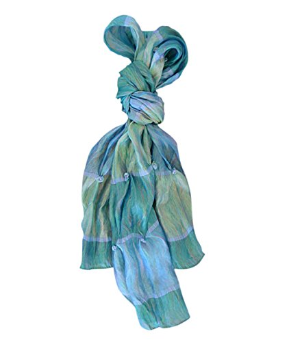 Best Seller Oceans of Blue New Silk Handmade Wide Work Office Fashion Scarf Lightweight Scarves Popular Top Unique Last Minute Gift Idea Under 25 Dollars for Her Wife Women Girl (Gifts Her $25 For)
