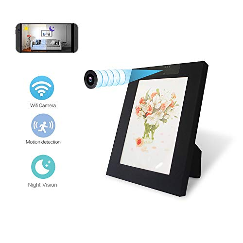 WiFi Hidden Camera Photo Frame WiFi,Hidden Spy Camera Photo Frame Night Vision, Wireless Nanny Cam HD 1080P with Motion Detection for Home Security Camera, USB Charger