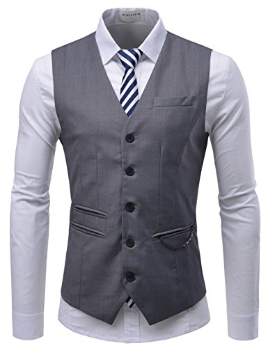 TheLees (RVE) Chain Zipper Pocket 5 Button Slim Vest Waistcoat Gray US XL(Tag Size -