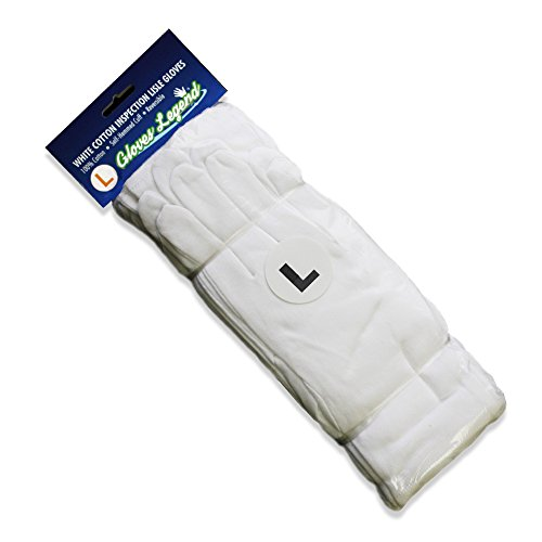 Large White Cotton Gloves (Size Large - 12 Pairs (24 Gloves) Gloves Legend White Coin Jewelry Silver Inspection 100% Cotton Lisle Gloves - Premium)