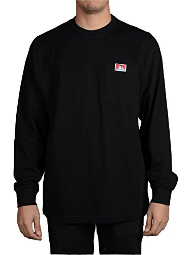 Ben Davis Men's Heavy Duty Long Sleeve Pocket T-Shirt (Black, 3X-Large) (Heavy Duty Cotton T Shirts With Pocket)