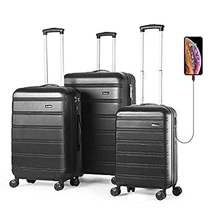 ultime tendenze fornitore ufficiale 100% autentico REYLEO Set di 3 valigie bagagli ABS con guscio rigido con porta USB,  Serratura TSA integrata con ruote di spinner 20 pollici 24 pollici 28  pollici ...