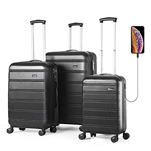 - REYLEO Luggage Sets 3 Piece Hard Shell Luggage Set with USB Port TSA Lock Spinner Wheels 20 Inch 24 Inch 28 Inch, LUG282420A