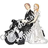 Wedding Cake Topper Bride and Groom Couple on Motorbike Personalised Decoration